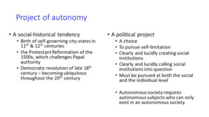 proj of autonomy